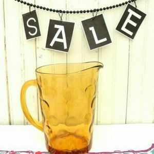 Bubble Glass Amber Pitcher, Vintage Glass Pitcher